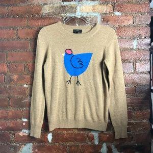 J. Crew Cashmere Blend Beret Bird Sweater S